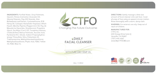ctfo daily facial cleanser label