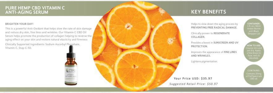 ctfo pure hemp cbd vitamin c anti-aging serum