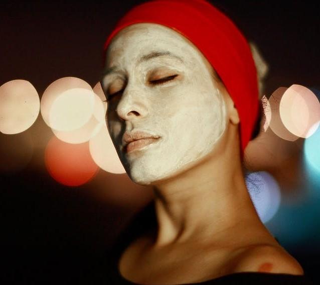 moisturizing cream mask on a woman