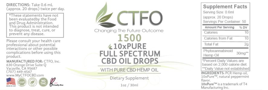 ctfo 10xpure 1500 label