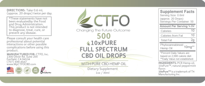 ctfo 500mg label