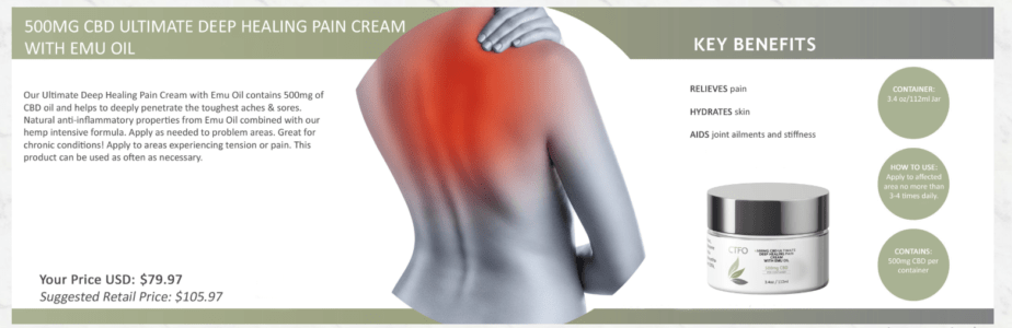 ctfo cbd ultimate deep healing pain cream with emu oil image